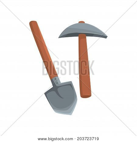 Shovel and pickaxe tools, mining industry equipment cartoon vector Illustration on a white background