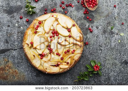 Homemade flavored pie with apples, pouring and fresh cowberry on a stone gray background with branches of northern wild cowberry. Top View