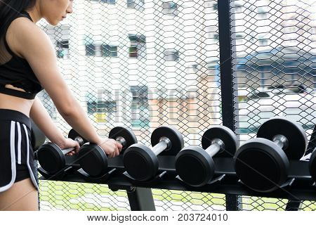 Young Woman Execute Exercise In Fitness Center. Female Athlete Lift Dumbbell In Gym. Sporty Girl Wor