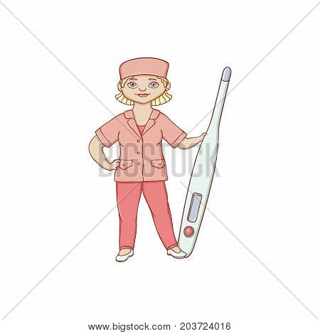 vector flat cartoon woman doctor nurce in red medical clothing holding huge big thermometer. Adult female character. Isolated illustration on a white background.