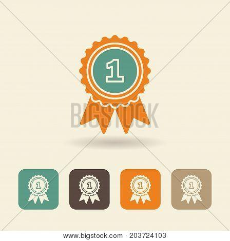 Flat icon pennant winner. Vector logo illustration