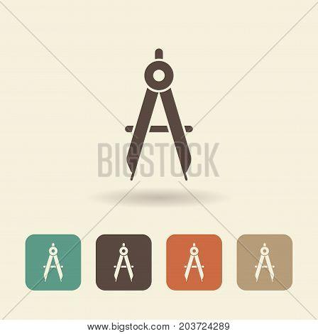 Flat icon of a compass. Vector logo