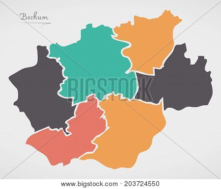 Bochum Map With Boroughs And Modern Round Shapes