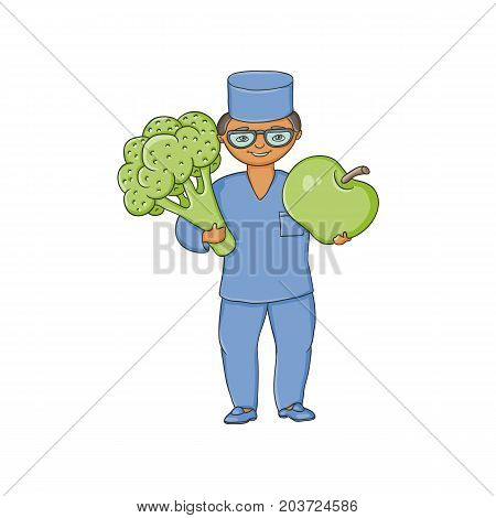 vector flat cartoon male doctor nurce in blue medical clothing , glasses holding huge big apple and broccoli .Adult character. Isolated illustration on a white background.
