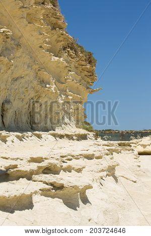 Wild and unique rock formations of Malta coast