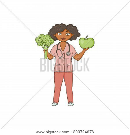 vector flat cartoon female doctor nurce in red medical clothing holding huge big apple and broccoli .Adult female character. Isolated illustration on a white background.