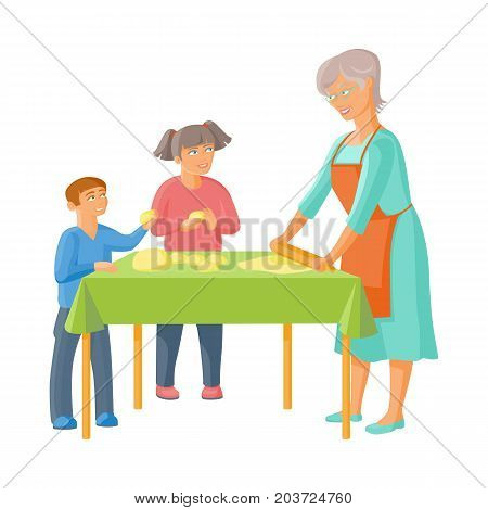 vector flat cartoon grandmother and boy and girl kids rolling out the dough by rolling pin, cooking. Isolated illustration on a white background. Grandparents and children concept