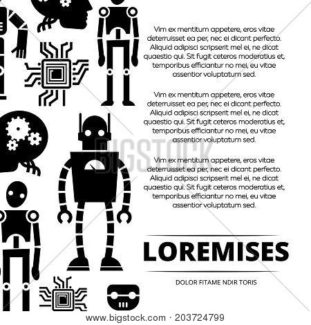 Robots, cyborgs and chips poster design. Robot machine future, vector illustration