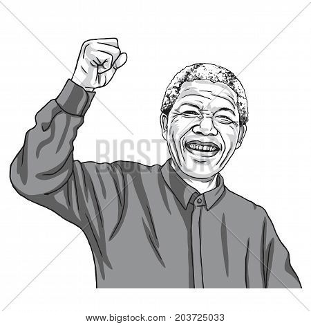 Nelson Mandela Madiba Cartoon Caricature Vector Illustration. September 11, 2017
