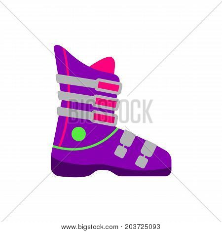 Skiing, snowboarding boot, winter sport gear, flat style vector illustration isolated on white background. Flat vector skiing, snowboarding boots, colorful illustration