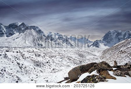 Khumbu glacier and Himalaya Mountain landscape in Sagarmatha National Park, Everest region, Nepal, Himalayas