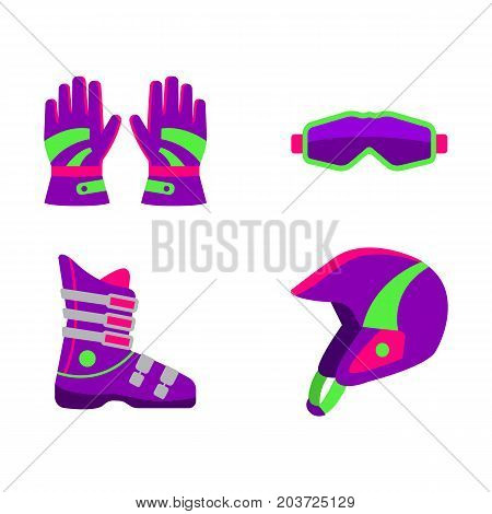 Set of skiing, snowboarding equipment - helmet, boot, goggles, gloves, flat style vector illustration isolated on white background. Flat vector skiing, snowboarding helmet, boot, goggles, gloves