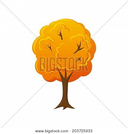 Cartoon style fall, autumn tree, vector illustration isolated on white background. Cartoon style fall, autumn forest, garden, park tree, decoration element