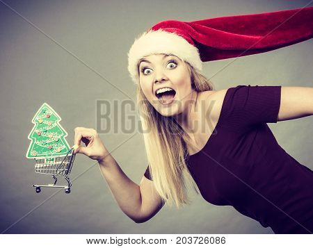 Xmas seasonal sales winter celebration concept. Happy woman wearing Santa Claus helper hat holding shopping basket cart with little christmas tree inside running for sale.
