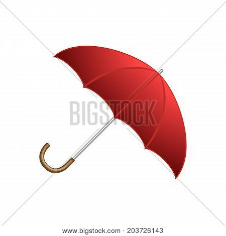 Red shiny open umbrella, typical autumn accessory, cartoon style vector illustration isolated on white background. Cartoon style red open shiny umbrella, fall, autumn season object