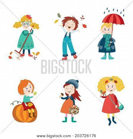 Kids, children enjoy fall, autumn activities - leaves, umbrella, mushroom, pumpkin, flat style cartoon vector illustration isolated on white background. Cartoon kids, boys and girls enjoy autumn, fall
