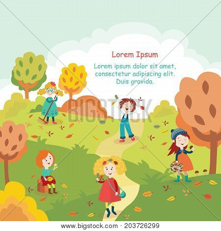 Kids, children having fun in fall, autumn - throwing leaves, picking mushrooms, walking in the park, flat style cartoon vector illustration. Cartoon kids enjoy autumn, fall outdoors, in the park
