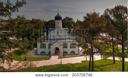 Exterior View To Church Of The Conception Of Anne In The Corner From Modern Park Zaryadye, Moscow, R