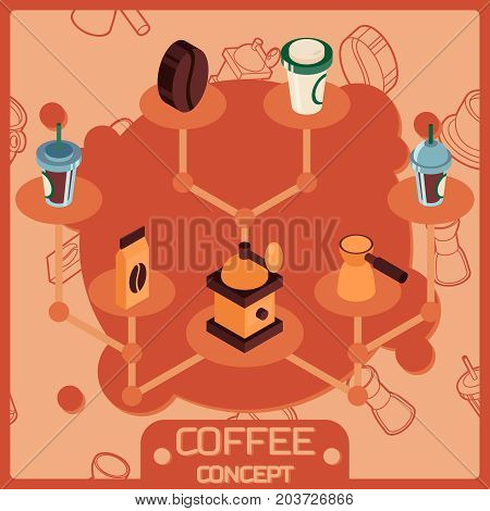 Coffee color isometric concept icons . Coffee design. Vector illustration, EPS 10