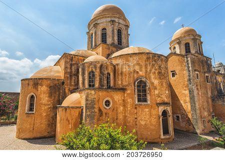 Chania, Greece - August, 2017: Monastery of Agia Triada Tzagaroli in Chania region on Crete island, Greece.