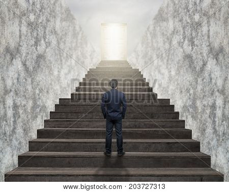 Businessman standing for walking up stairs to the door over the cloud sun over the cityscape backgroundSuccess business and Ambitions concept, 3D illustration