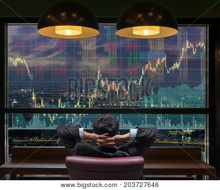 Back side of sitting businessman who is looking at stock market exchange graph over the cityscape on the big screen background Business trading and finance concept, 3D illustration