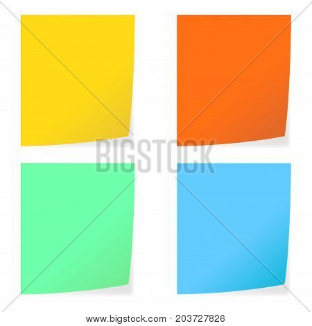 Colored paper stickers. Notepad sheets with shadow. Vector 3d illustration isolated on white background