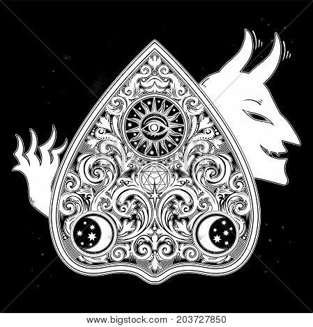 Hand drawn vintage magic Ouija board oracle with a demon devil. Antique Halloween and tattoo design, witchcraft, spirituality. For print, posters, t-shirts, textiles. stickers. Vector illustration.