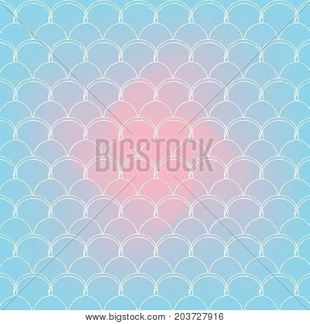 Fish skin on trendy gradient background. Square backdrop with fish skin ornament. Bright color transitions. Mermaid tail banner and invitation. Underwater and sea pattern. Blue, rose, pink colors.
