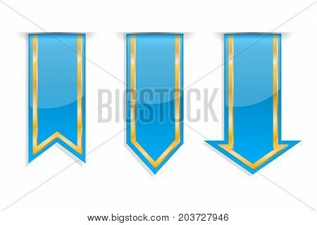 Blue and golden arrow stickers. Vector 3d illustration isolated on white background