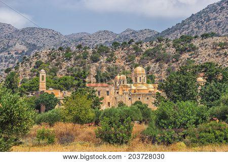 Chania Greece - August 2017: Monastery of Agia Triada Tzagaroli in Chania region on Crete island Greece.