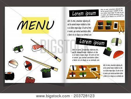 Japanese cuisine restaurant menu template. Vector lunch offer for walnut roll, pork teriyaki and guncan with cucumber or caviar, chukka salad, shrimps and avocado temples, yakitori and roll california