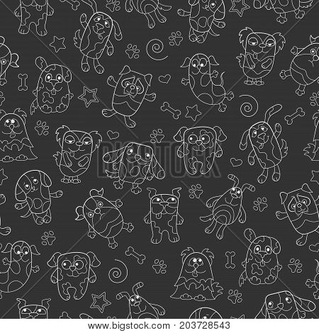 Seamless pattern with contour images cartoon dogs light outline on a dark background