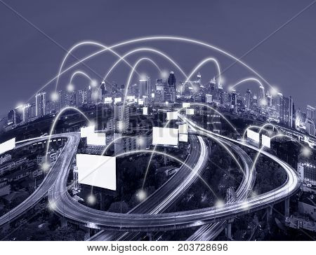 Network connection line between building over the top view of cityscape which can see the Elevated highway background cool tone color business network and connection concept, 3D illustration