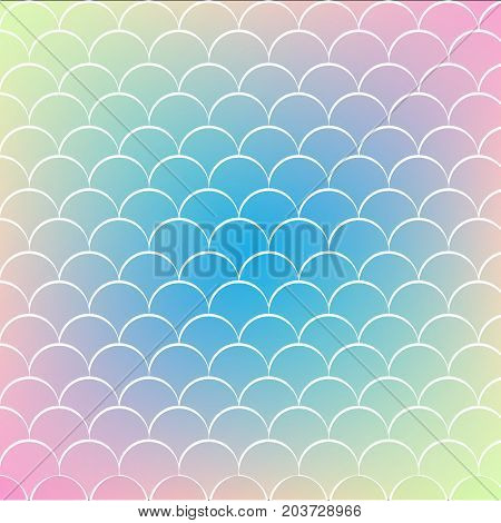 Squama on trendy gradient background. Square backdrop with squama ornament. Bright color transitions. Mermaid tail banner and invitation. Underwater and sea pattern. Blue, yellow, pink colors.