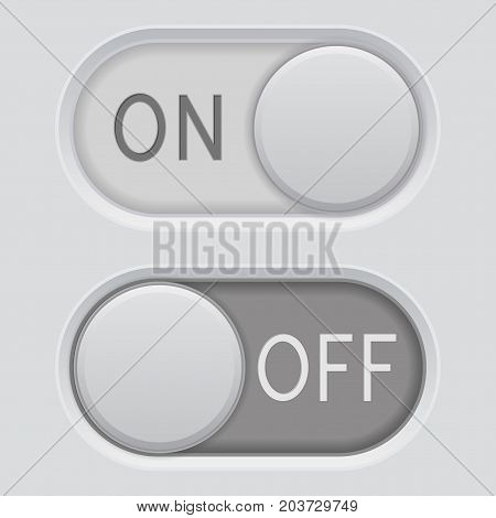 On and Off switch buttons. Oval interface elements. Vector 3d illustration