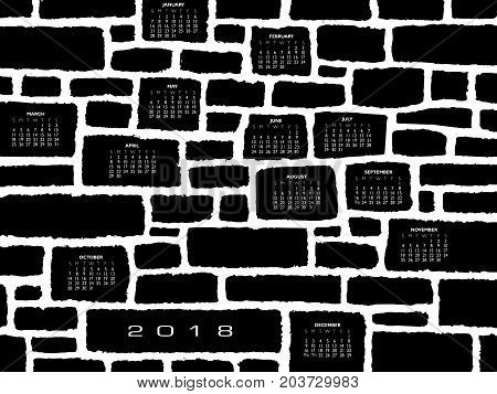 A 2018 calendar made from a stone wall for print or web use