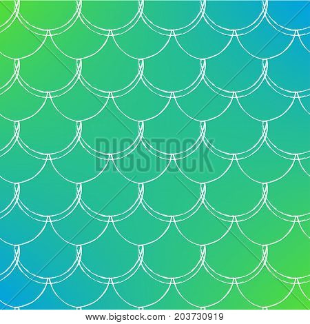 Fish skin on trendy gradient background. Square backdrop with fish skin ornament. Bright color transitions. Mermaid tail banner and invitation. Underwater and sea pattern. Green and blue colors.