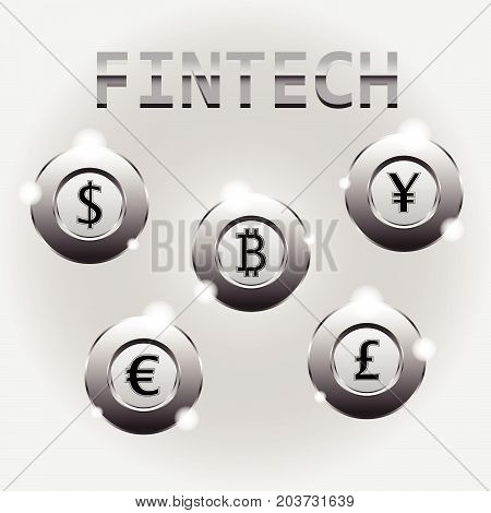 Fintech Illustration Shining Chromium Coins/Circles As Multiple Crytocurrencies Dollar Bitcoin Yen Euro Pound involving in financial technology innovation banking and investment.