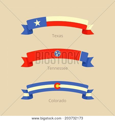 Ribbon with flag of Texas Tennessee and Colorado in flat design style.