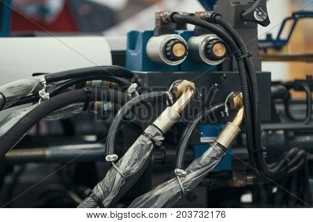 Industrial wires - part of chemical equipment - industrial factory, close up