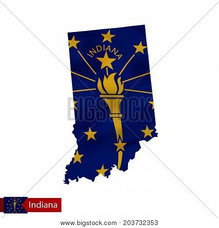 Indiana State Map With Waving Flag Of Us State.