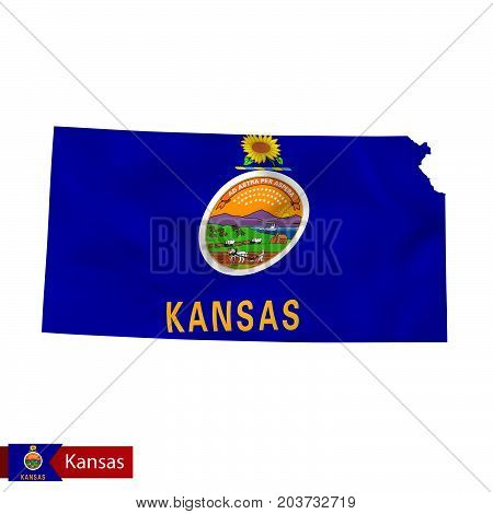 Kansas State Map With Waving Flag Of Us State.