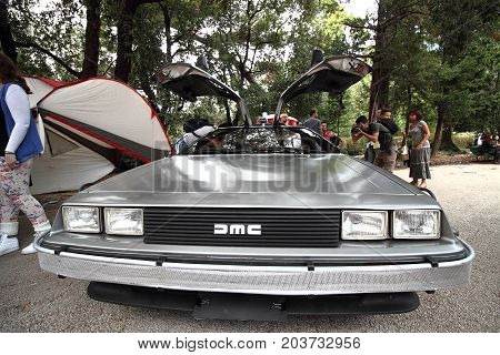 Genoa Italy - September 10: The movie De Lorean Return to the future on display during the Genova cosplay race