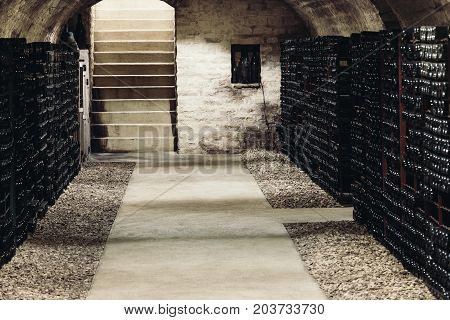 Old wine cellar along the walls there are shelves with many bottles of wine