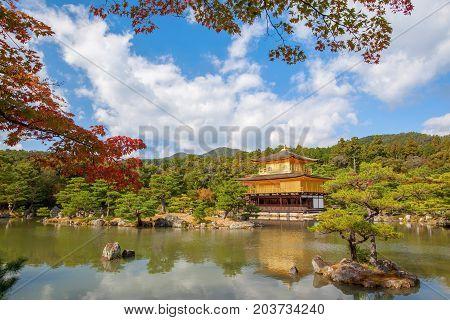 Beautiful golden pavilion Kinkakuji temple in autumn season Kyoto Japan