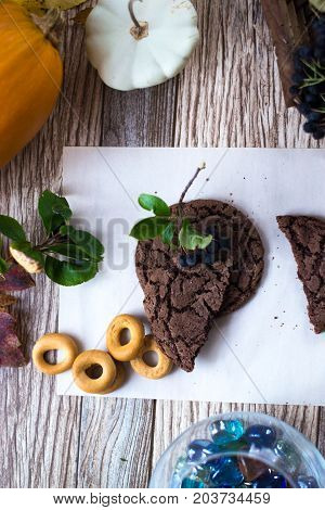 Homemade cakes, cake on a wooden background