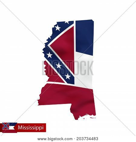 Mississippi State Map With Waving Flag Of Us State.