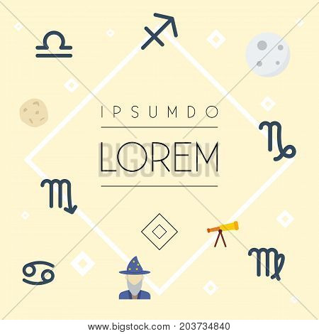 Flat Icons Lunar, Archer, Virgin And Other Vector Elements