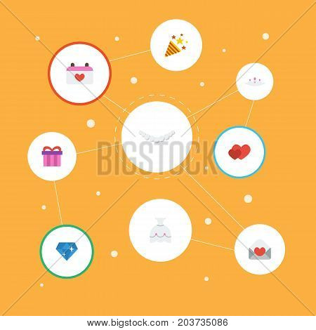 Flat Icons Sparkler, Calendar, Love And Other Vector Elements